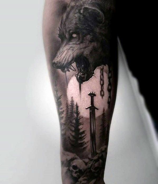 Wolf With Moon And Sword Mens Great Sleeve Tattoo Ideas Wolf Tattoo Sleeve Sleeve Tattoos Best Sleeve Tattoos