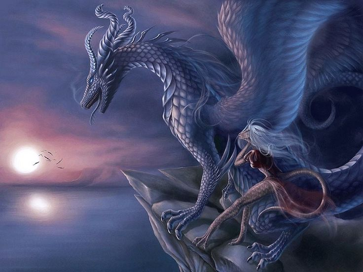 Large Blue Dragon With A Smaller Pink Dragon Looking At The Sunset