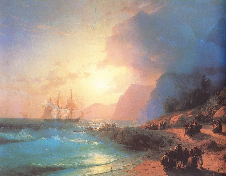 Ivan Konstantinovich Aivazovsky.  Title: Crete Island, Date: 1867, Location: Feodosia, Aivazovsky Art Gallery - Buy this painting as premium quality canvas art print from Modarty Art Gallery #art, #canvas, #design, #painting, #print, #poster, #decoration