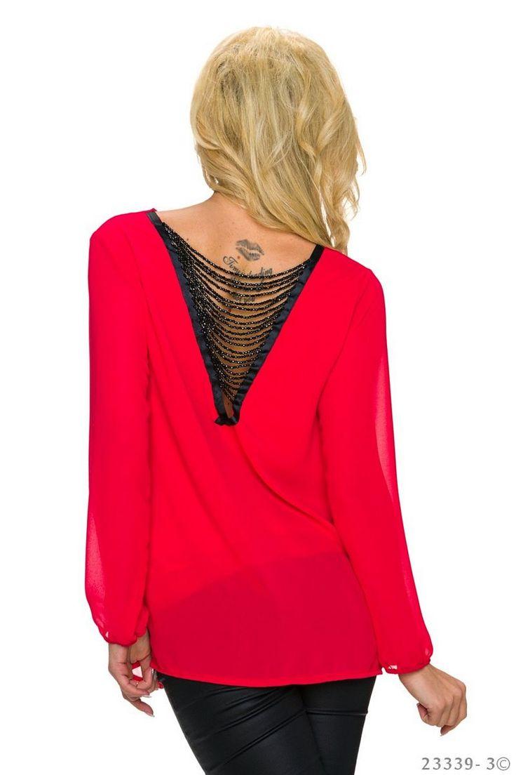 Εξώπλατη ντραπέ σιφόν μπλούζα - Κόκκινο