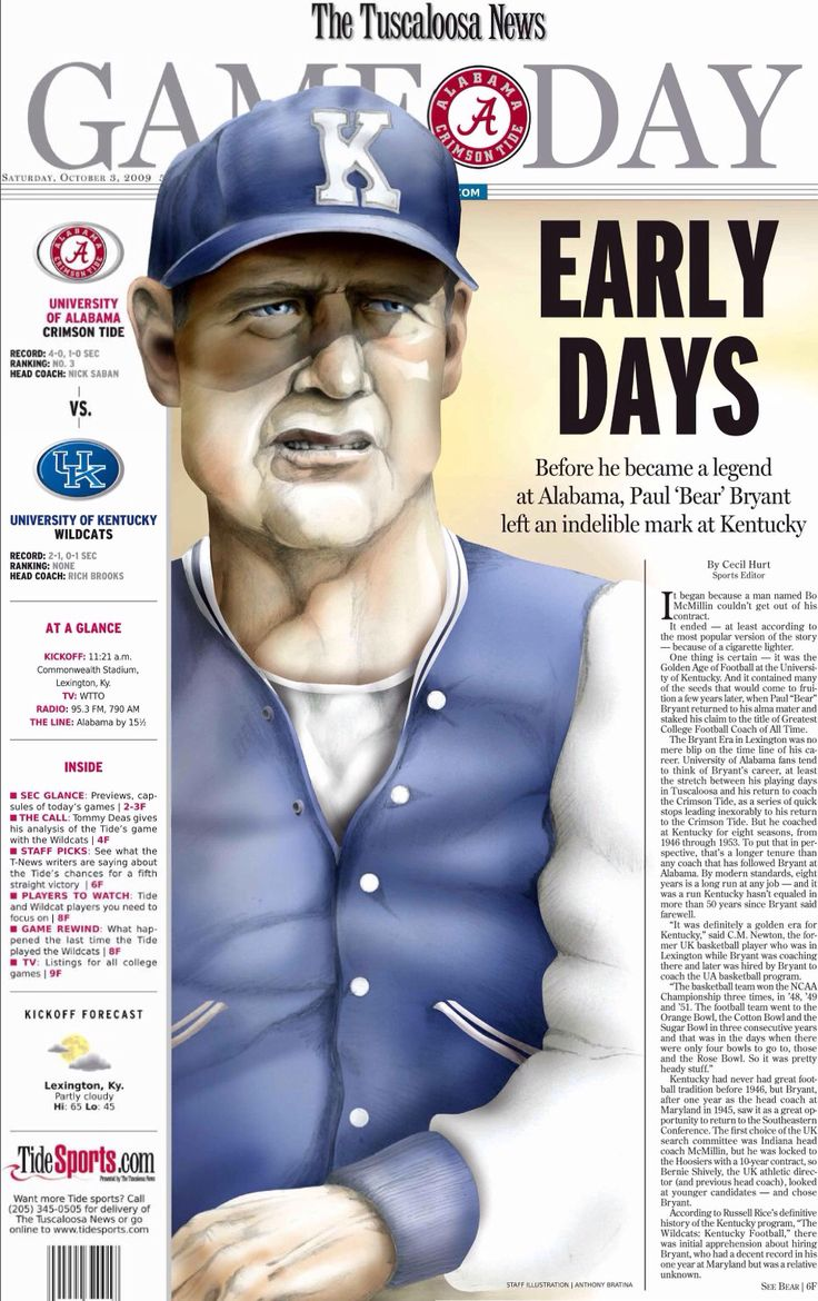 Alabama vs Kentucky - remembering Bear Bryant as the Kentucky coach October 3, 2009 The Tuscaloosa News Gameday by Anthony Bratina #TuscaloosaNews #Alabama #RollTide #BuiltByBama #Bama #BamaNation #CrimsonTide #RTR #Tide #RammerJammer #BearBryant