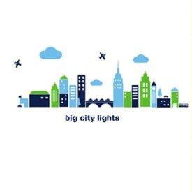 Wall Decal Big City Lights Green, Light Green & Blue