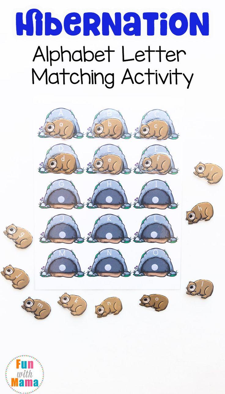 Hibernation Preschool Alphabet Letter Matching Activity - Fun with Mama #hibernation #alphabet #letters #activities #preschool #homeschool #resource