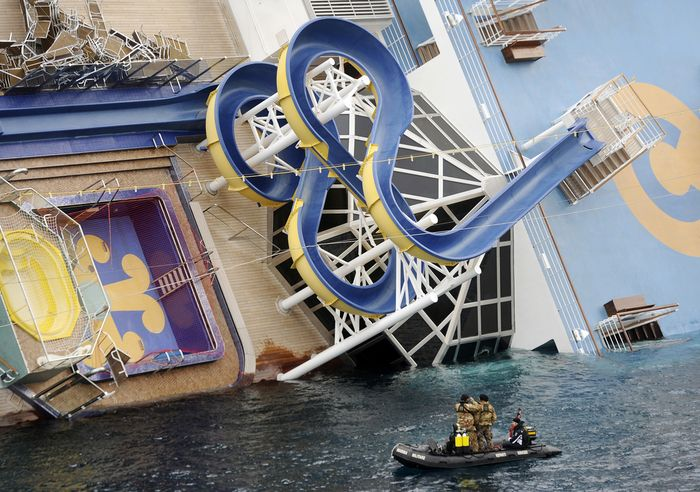 The Costa Concordia disaster was the partial sinking of the Italian cruise ship Costa Concordia when it ran aground at Isola del Giglio,Tuscany, on 13 January 2012 with the loss of 32 lives. So odd seeing the pool on topside of ship completely sideways.