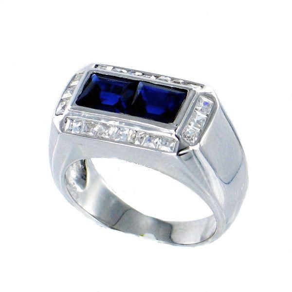 bague créateur argent 925 rhodiée forme chevalière avec pierrre cz bleue carrée et diamante cz