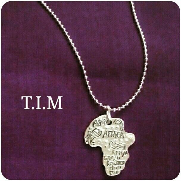 Africa pendant on ball chain