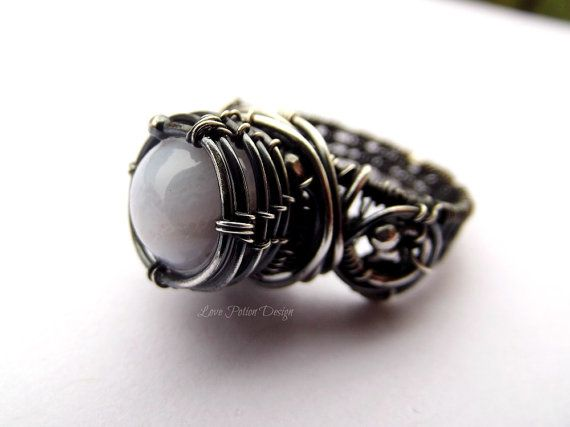 Wire Wrapped Sterling Silver Ring With Pale by LovePotionDesign, €90.00