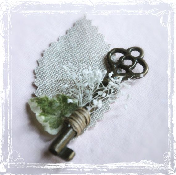 Skeleton Key Boutonniere - Groom Groomsmen Men Weddings Wedding Steampunk - Vintage Style Key To My Heart - Lapel Pin via Etsy