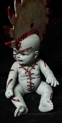 Zombie Baby Doll Saw in the Head Horror Halloween Haunted House Horror Prop