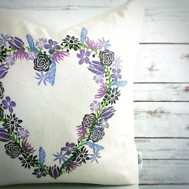 """59 Likes, 4 Comments - Kailey Stewart (@cottage_cloth) on Instagram: """"Floral heart wreath pillow in purples. Looks so great with grey decor. Would be an awesome…"""""""