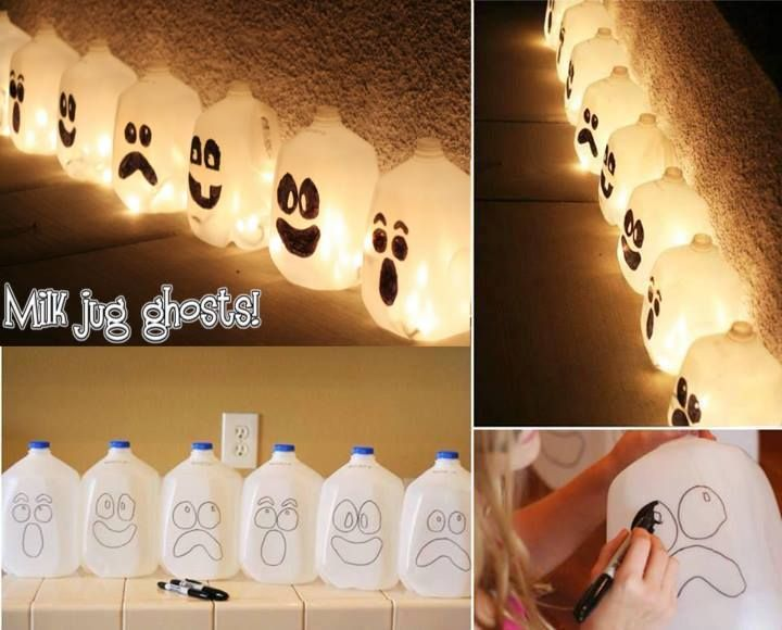 Milk jug ghosts! Easy Craft that is fun and easy for adults and kids and budget friendly   Arrange the ghosts near each other and string the lights between them, stuffing several bulbs into each of the jugs.  Daw's tip you can paint them to be witches or cat faces or bats etc  try colored lights for a different effect   Youtube video on this  http://www.youtube.com/watch?v=T8Dpt4bPR2o  Source here  http://spoonful.com/crafts/spirit-jugs <----