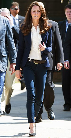 For her stop in Slave Lake, Alberta, Canada, the Duchess of Cambridge chose to rewear her Smythe blazer and J.Brand jeans from earlier in the trip, and pair the pieces with a white ruffle blouse and black slingback wedges.