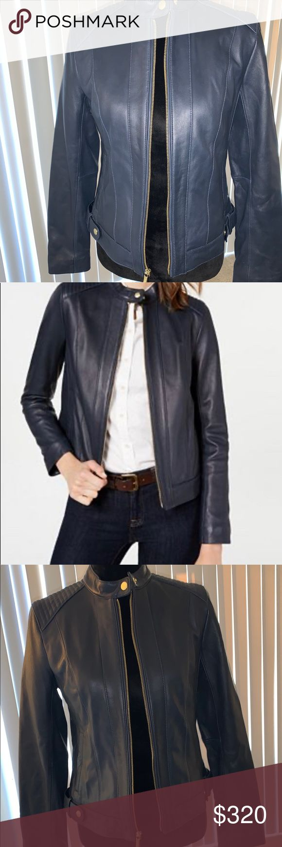Cole Haan Seamed Leather Jacket navy blue NWT Leather
