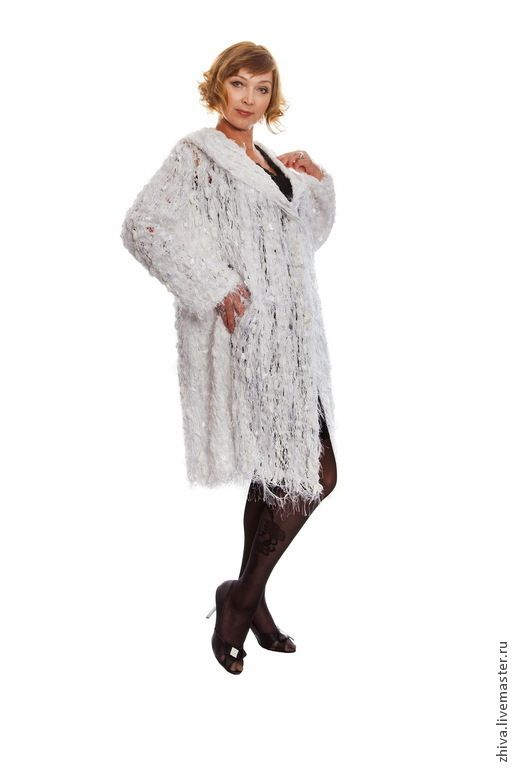 Купить Пальто из хлопка Уютный снег - белый, Пальто ручной работы, пальто с капюшоном