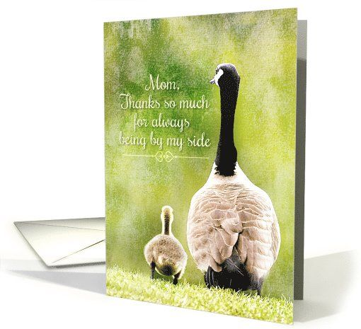 Happy Mother's Day Thanks Mom Adorable Goose and Gosling card