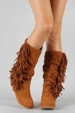 Bamboo Friends-14 Fringe Moccasin Knee High Boot