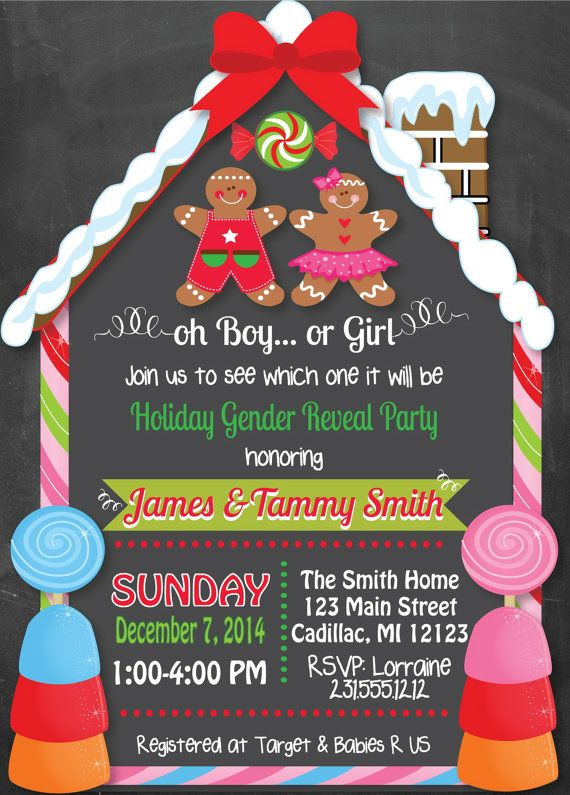 Chalkboard Christmas Gender Reveal Invitation By