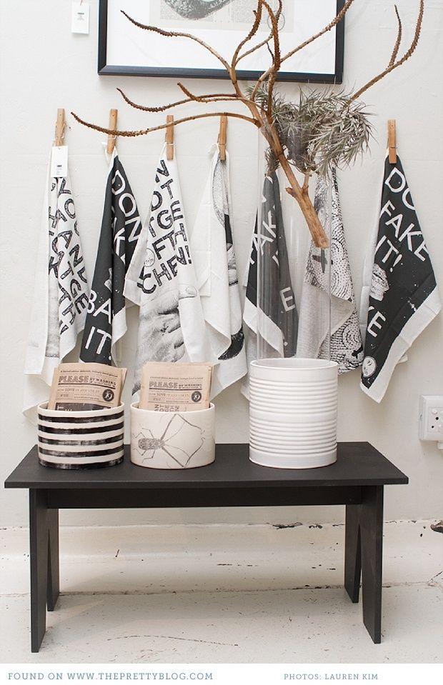 Black & white ceramics & cloths | Photo: Lauren Kim Photography, Shop: Anatomy Design