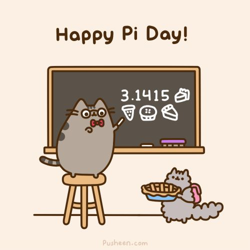 Pusheen the Cat wishes you a Happy Pi Day :)