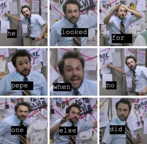 Image result for charlie day freak out memes