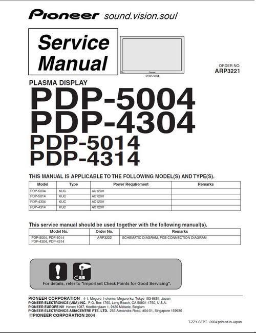 Pioneer PDP-4314 Kuro Plasma TV , Service Manual 100 per cent satisfaction guaranteed  100 DOWNLOAD