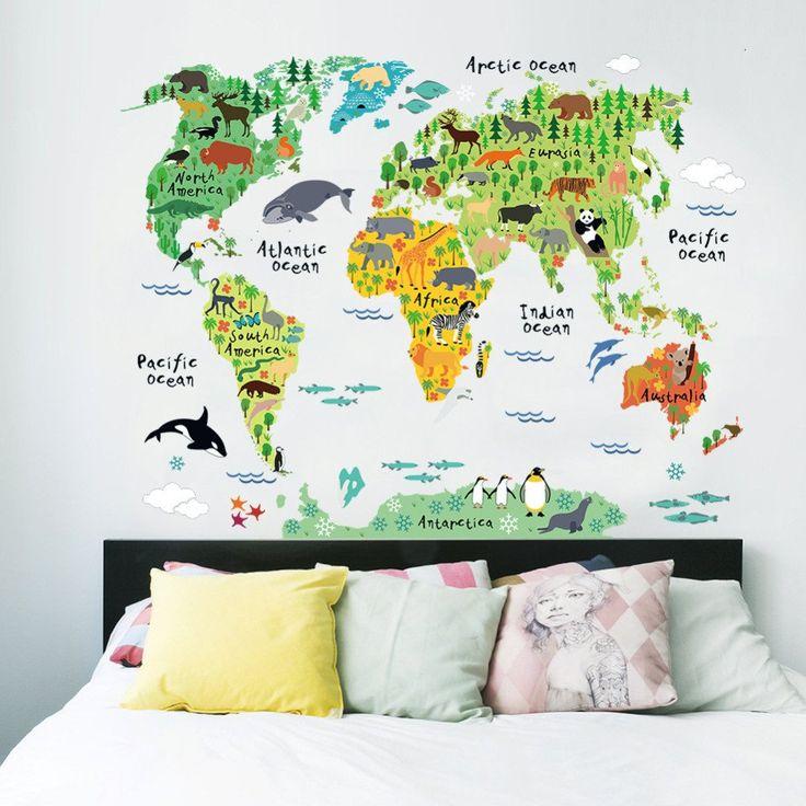 """Sticker mural """"Carte du monde et des animaux"""""""