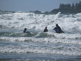 OK, that's not me.   But lots of surfers brave the freezing water in their wetsuits.
