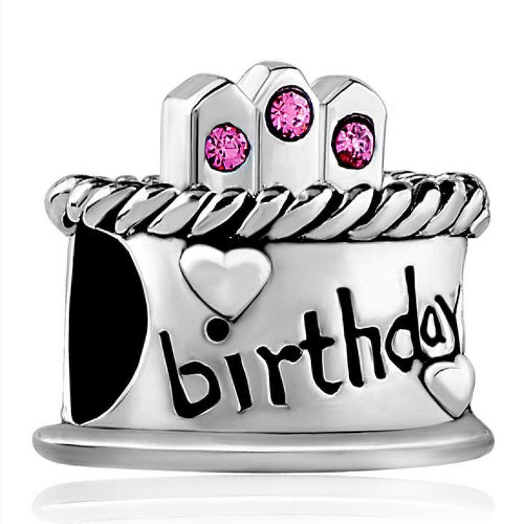 Happy Birthday Cake Hot Pink October Birthstone Bead Charm Charms Bracelet Pandora Chamilia Compatible | Charmsstory.com #birthday #charms #pandora #cake #october #pink