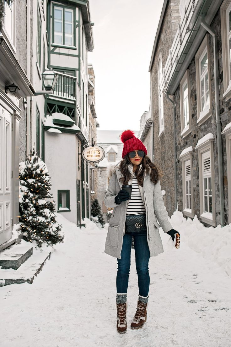 Cold Weather Outfit Inspiration Red Hat Boots Snow What To