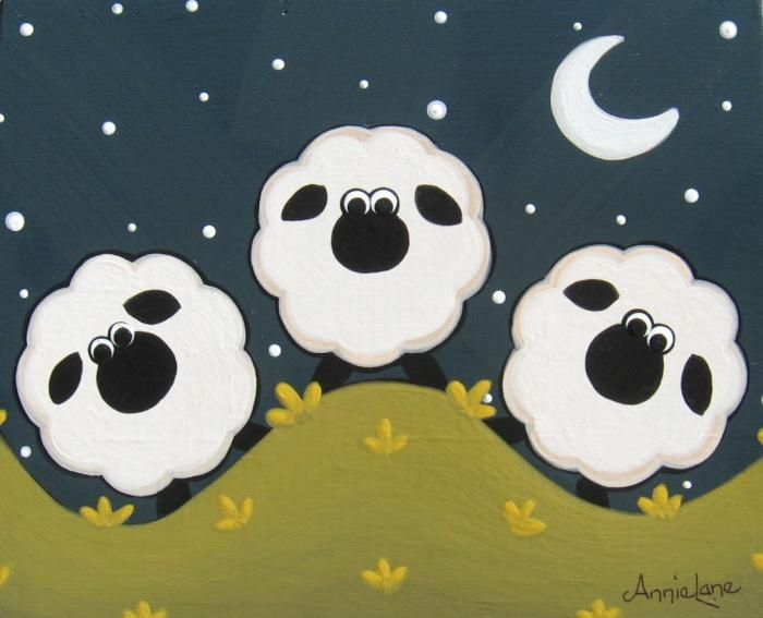""" Three "" Whimsical Sheep Art Painting by Annie Lane"