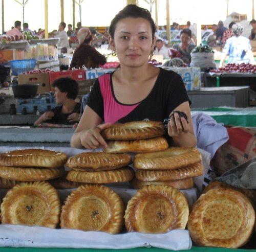 Far Flung Places : Non Bread Seller in Chorzu Bazaar Tashkent, Uzbekistan