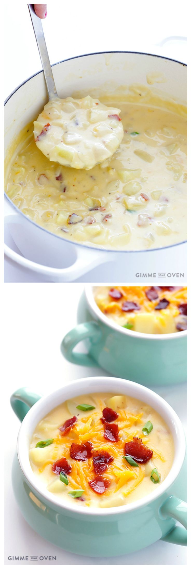 Homemade Potato Soup -- thick, creamy, comforting, and lightened up with milk instead of cream | https://gimmesomeoven.com