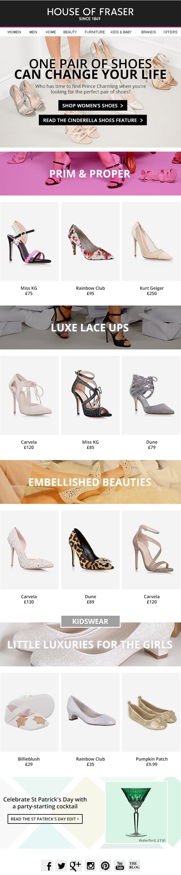 House of Fraser: SHOES. Embellished or patterned? Luxe or lace? Indulge your Cinderella fantasy