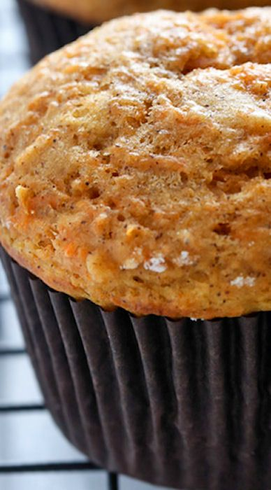 Applesauce Carrot Cake Muffins ... a small batch recipe for moist carrot cake applesauce muffins. A healthy, flavorful breakfast or snack!