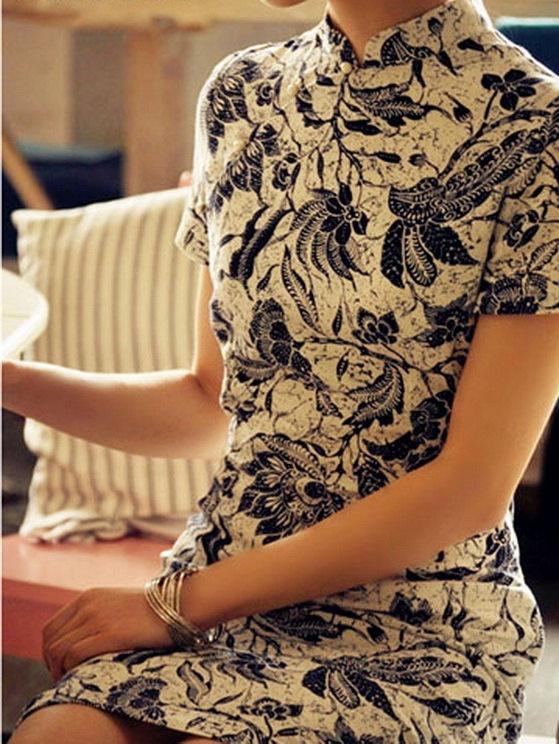 Linen fabric cheongsam