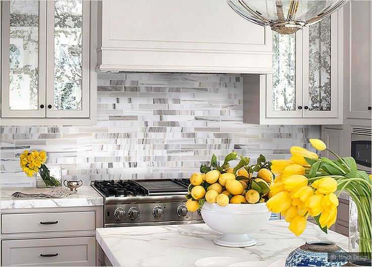 Modern White Gray Subway Marble Backsplash Tile | Kitchen ...