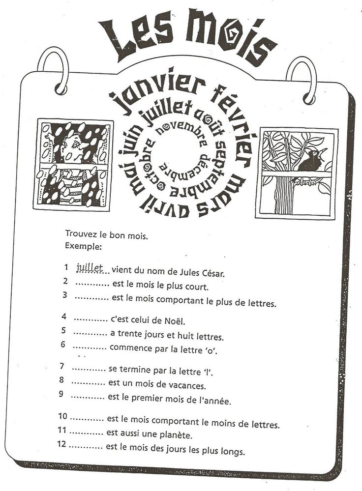 Français Langue Étrangère - A1: mois