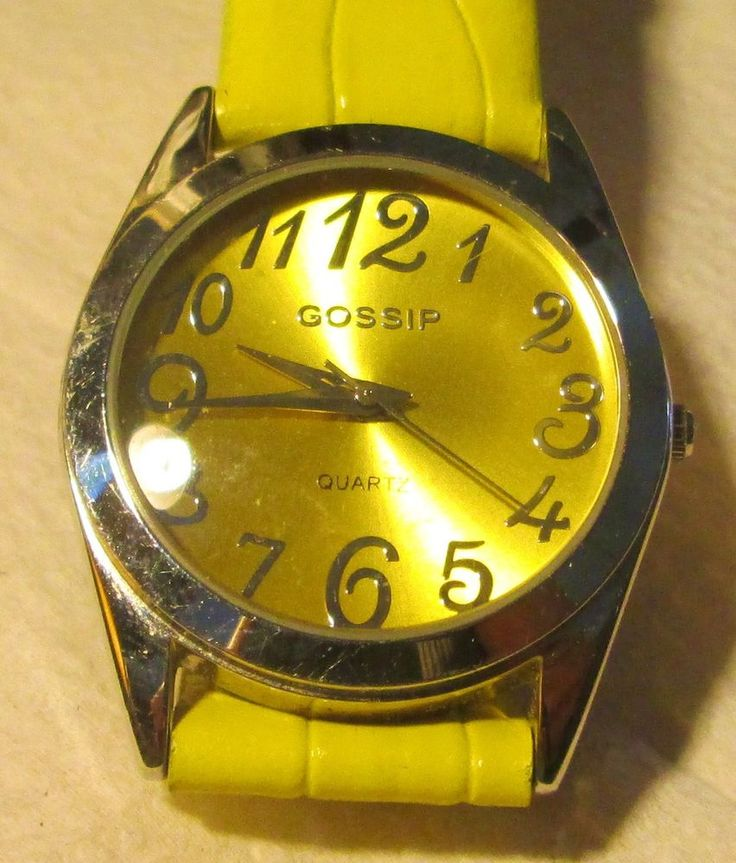WOMEN'S YELLOW LEATHER BAND SILVER GOSSIP WRIST WATCH, New ...
