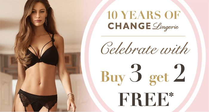 Celebrating 10 years in #Canadianfashion! Buy 3, get 2 FREE! Come in store and let us help you find the perfect fitting bra! #CHANGELingerie #perfectfit #bra #panties #lingerie #sleepwear #bikini #swimwear #intimatebritneyspears #britneyspears #canada #montreal #Toronto #Vancouver