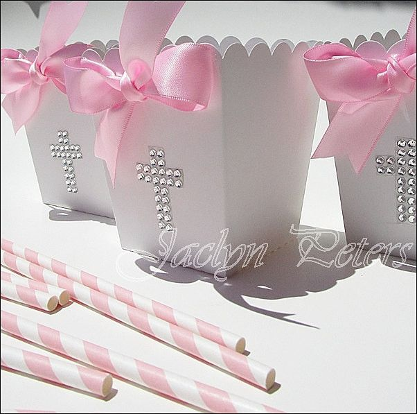 #Girls #Baptism Rhinestone #Cross Popcorn #Favor Boxes With Bow