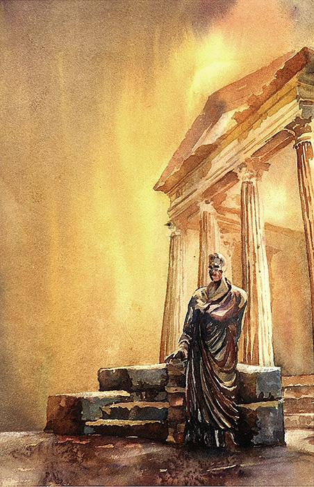 Watercolor painting of statue and temple at the Roman ruins of Dougga in the African nation of Tunisia.    Painted by Raleigh, NC artist Ryan Fox.    http://www.rfoxphoto.com