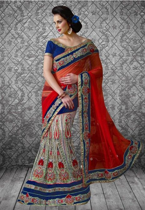 Red & Blue Embroidered Net & Cotton Party Wear Lehenga Saree