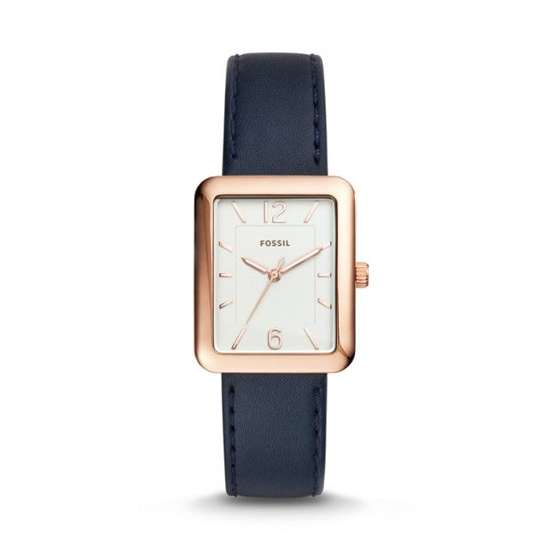 Atwater Three-Hand Navy Leather Watch - Fossil