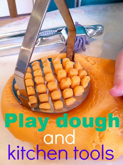 Exploring play dough with kitchen utensils. What's your favourite way to explore and learn with play dough?