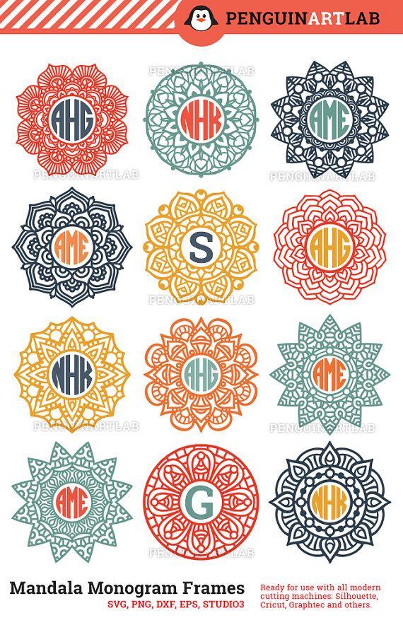 Mandala Circle Monogram Frame SVG Cut Files for Electronic Vinyl Cutter - Cricut, Silhouette, Screen Printing - svg, eps, dxf, png, studio3
