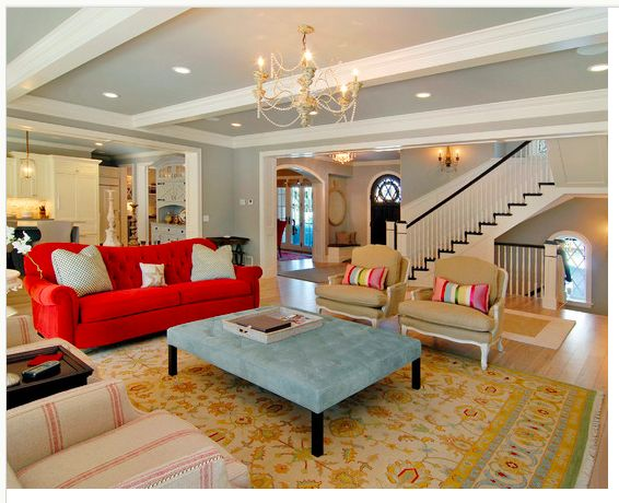 red couch in pretty room