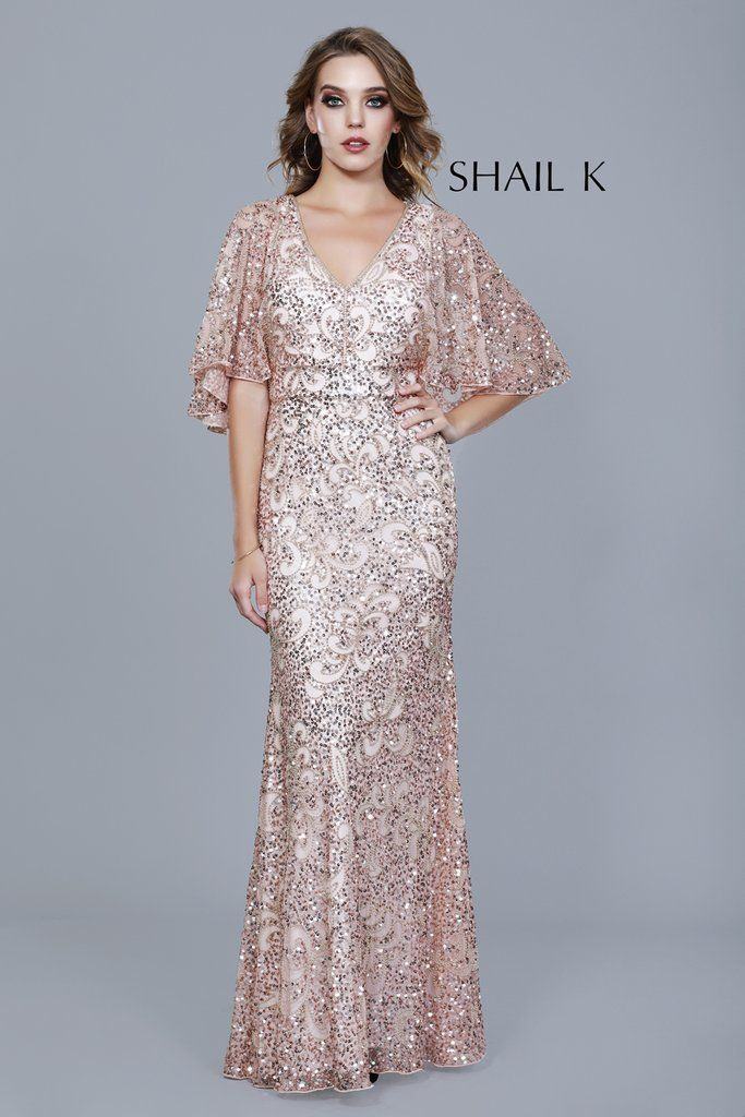 fc69d5c4ef1 Embellished Cape Sleeve A-Line Evening Dress 12178 in 2019