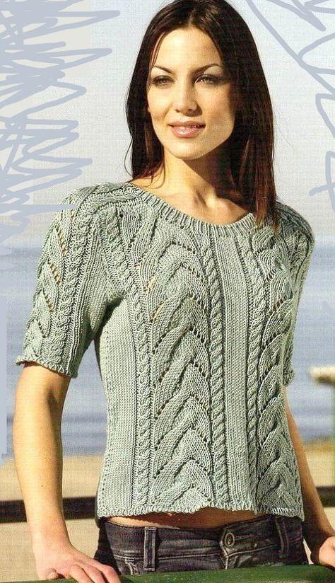 женский,летний,пуловер,с косами,описание,вязания,фото,схема,выкройка