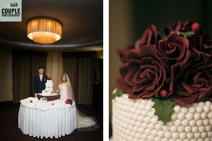 The bride & groom with their gorgeous wedding cake, red roses for their winter wedding. Weddings at The Westgrove Hotel by Couple Photography.