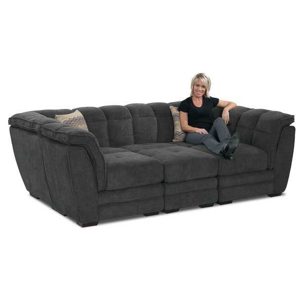 Cushy Clio Gray 4-Piece Pit Sectional by Vogue Furniture. Cool gray color and pillow top padding brings oversized comfort to your living room.